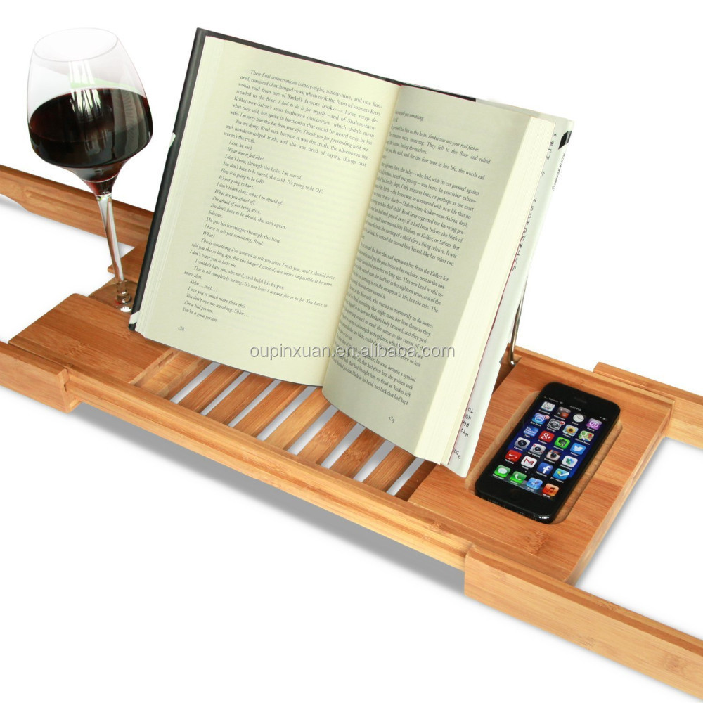 Bamboo Expandable And Adjustable Book Stand Stand For Phone Book ...