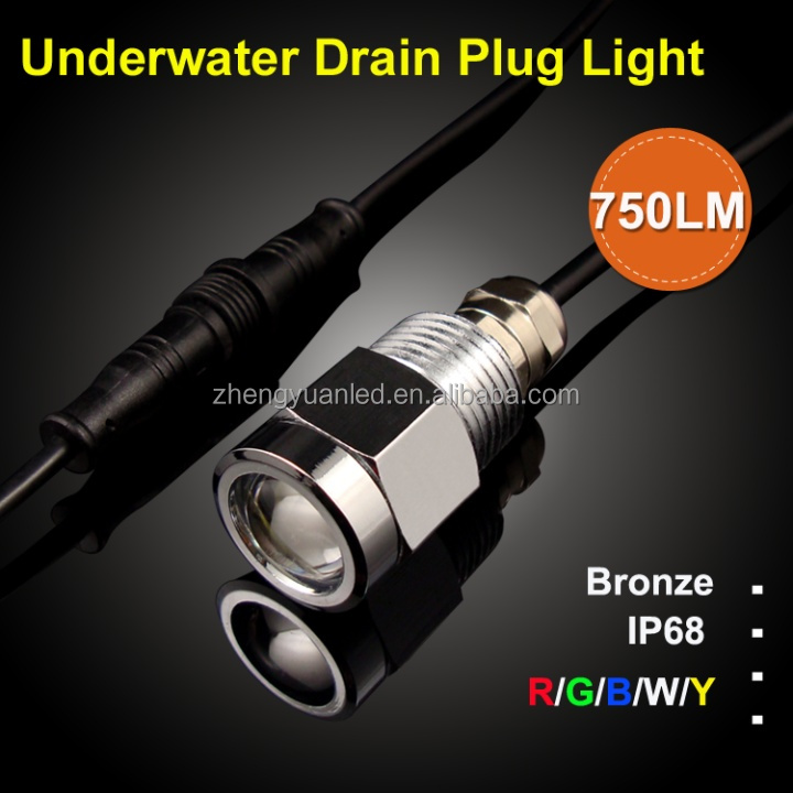 9w Led Underwater Boat Light Led Drain Plug 12v Green Fishing ...