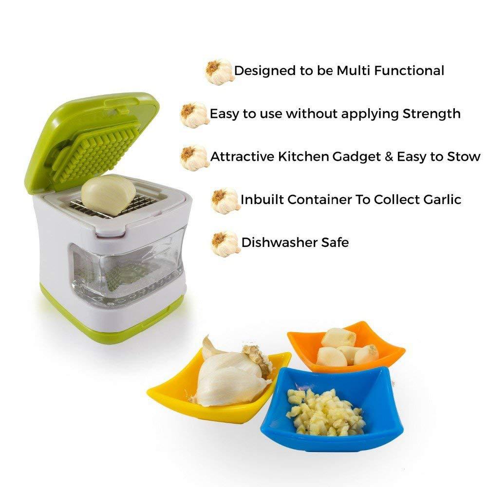 Geehaoo Handy Compact Garlic Press Cube Storage Bin Mince Quick Slice Kitchen Tool