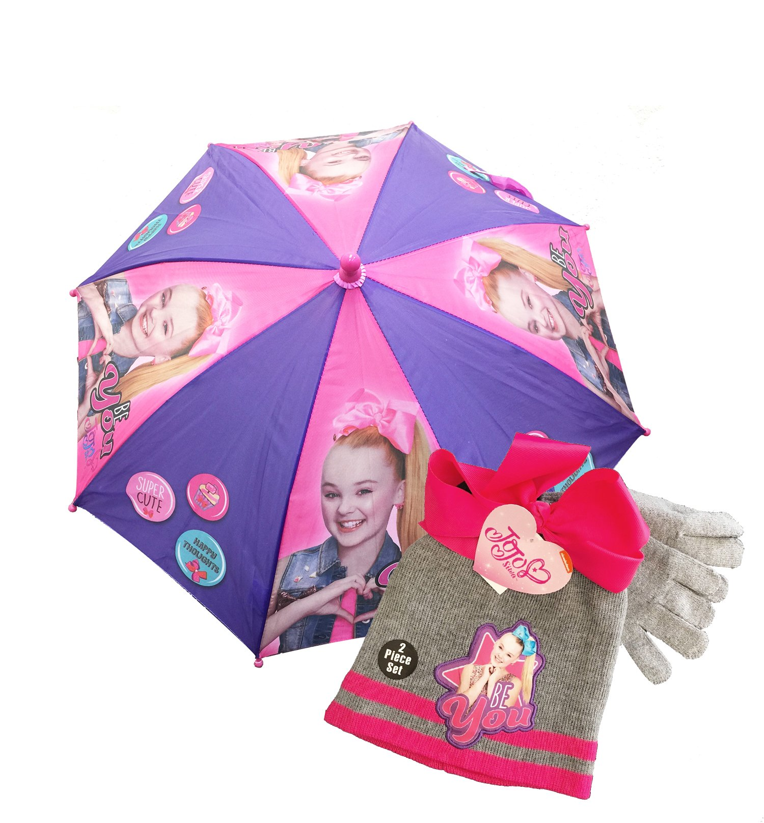 Little Girl's JoJo Siwa , purple umbrella w/Beanie/Knit Hat & Glove Set