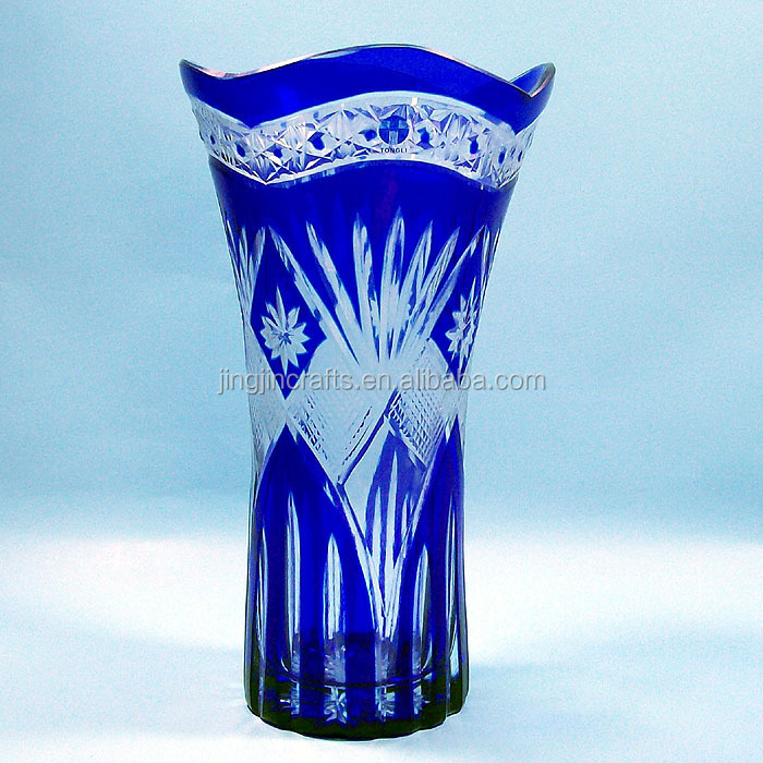 Best Selling Stock Cobalt Blue Bohemian Czech Crystal Glass Vase - Buy Hand  Cut To Clear Larger Crystal Glass Vase,Large Glass Flower Vases,Single