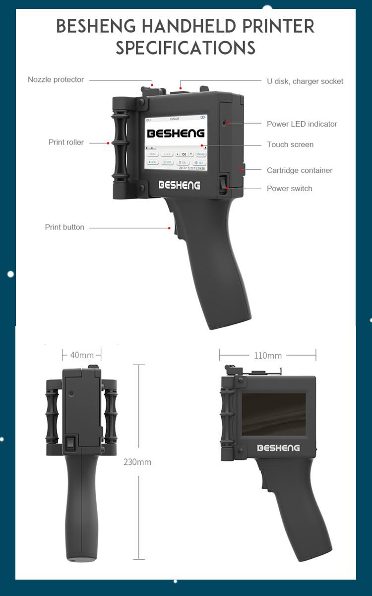Ebs Handjet Portable Printer Handheld Inkjet Printing Tool Machine On  Package,Wood,Plastic,Stone,Metal,Etc - Buy Ebs Handjet Portable Printer,Ebs