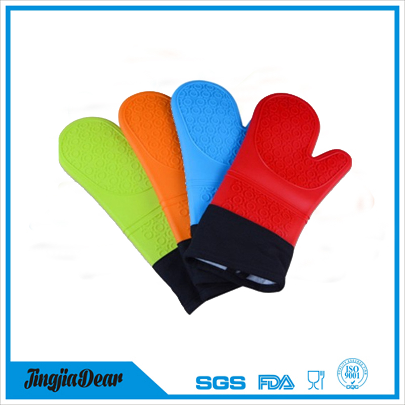 Home non-slip grip cotton lined silicone bbq oven gloves