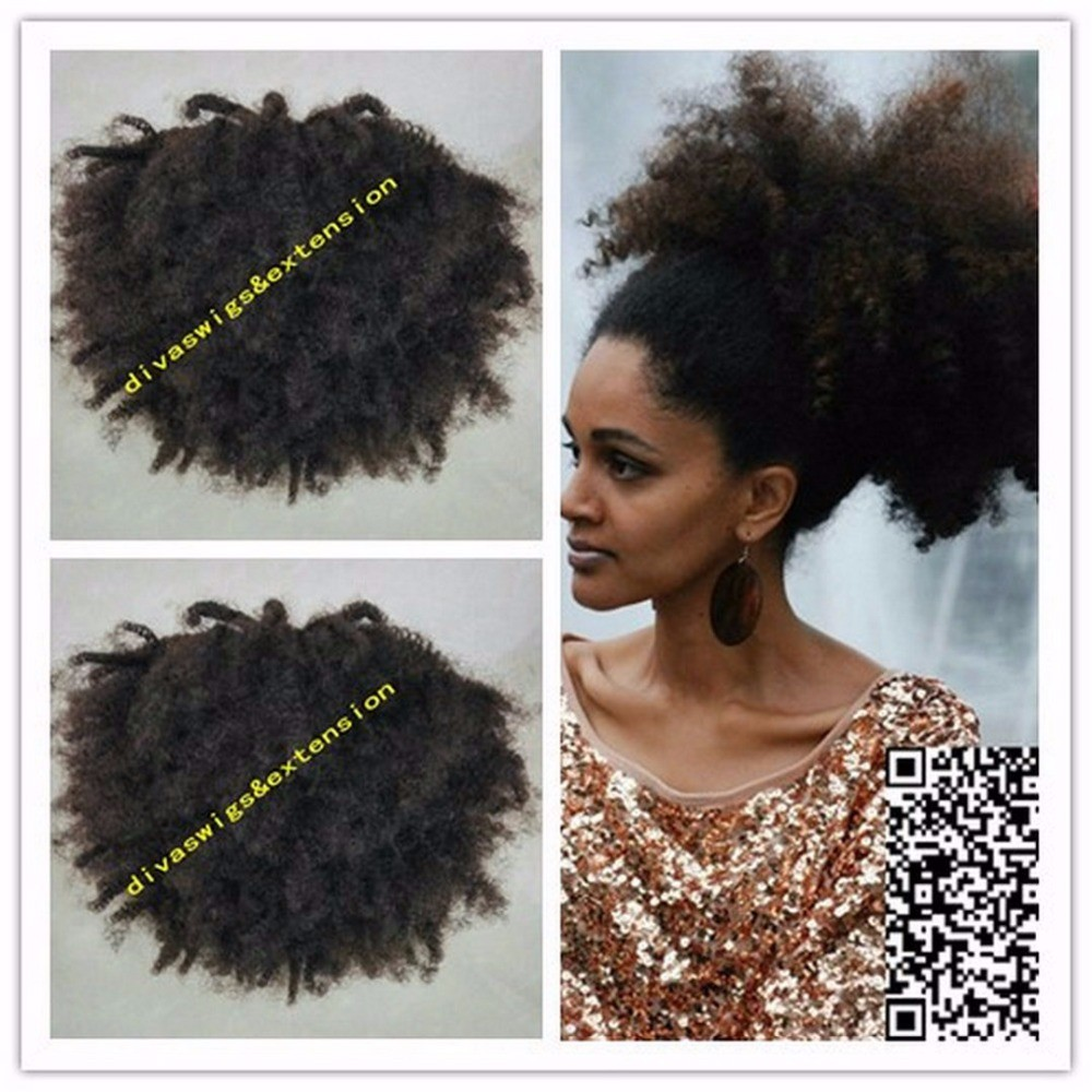 Short Afro Puff Kinky Curly Ponytail Hair Extension Clip In Remy