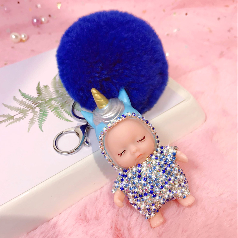 Factory wholesale cute sleeping baby with crown doll keychain key ring pendant china automobile cars