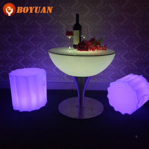 romantic lover illuminate plastic led coffee table with stainless steel shelf
