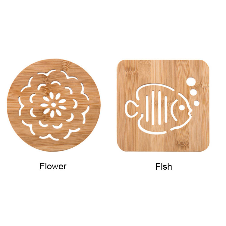 Absorb Spills Laminated Bamboo Coffee Cup Place Mat Sets With 6 Cup Mats And 1 Storage Rack