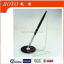 Factory price desk pen with chain, table ballpoint pen, stand pen for hotel or office