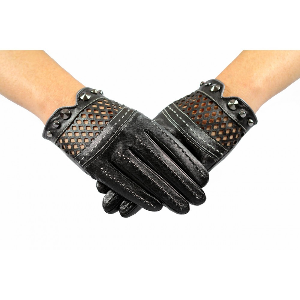 Ladies black short leather gloves driving unlined with studs and punch