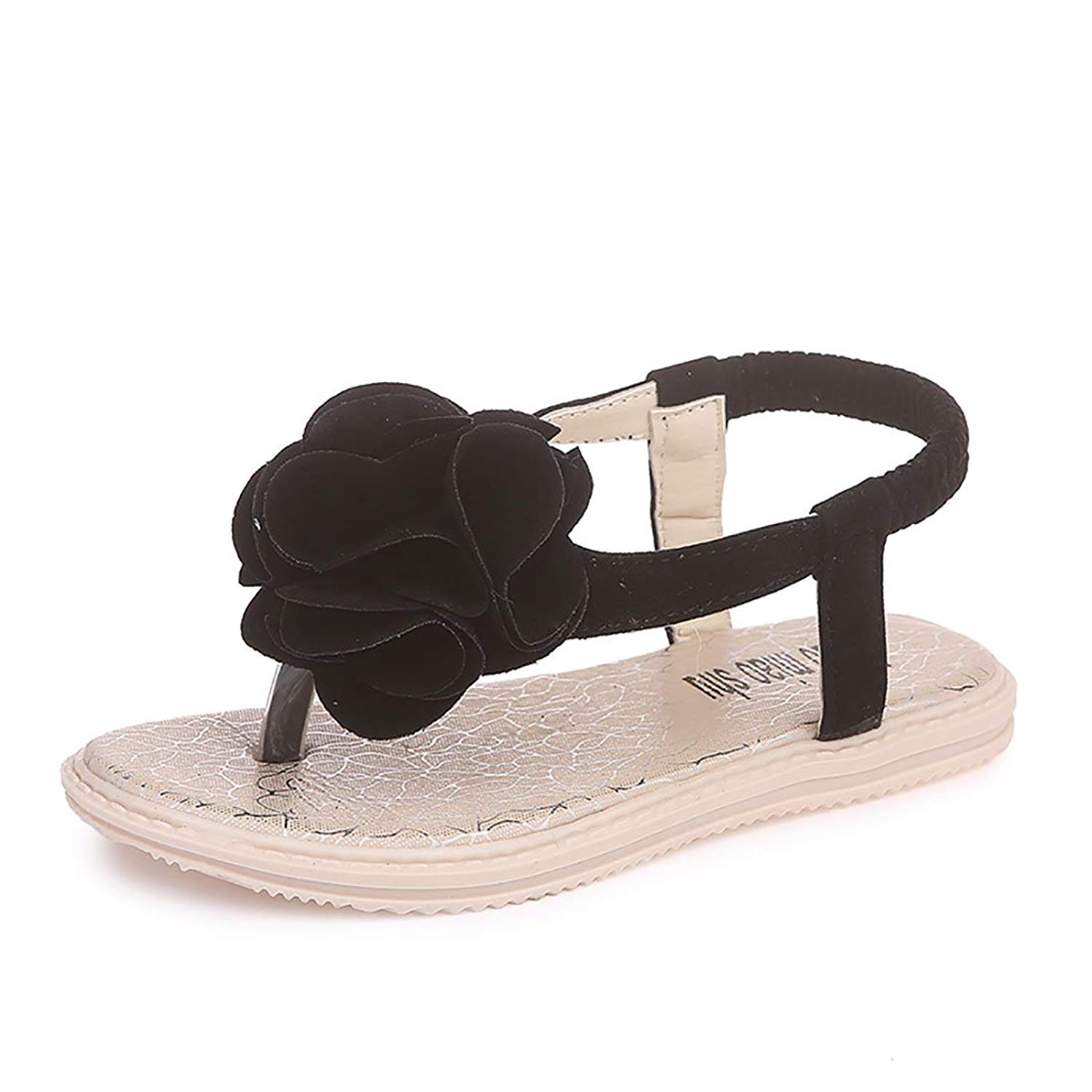 YIBLBOX Kids Toddler Girls Flat Flip Flop Sandals Clip on Beach Shoes with Flower