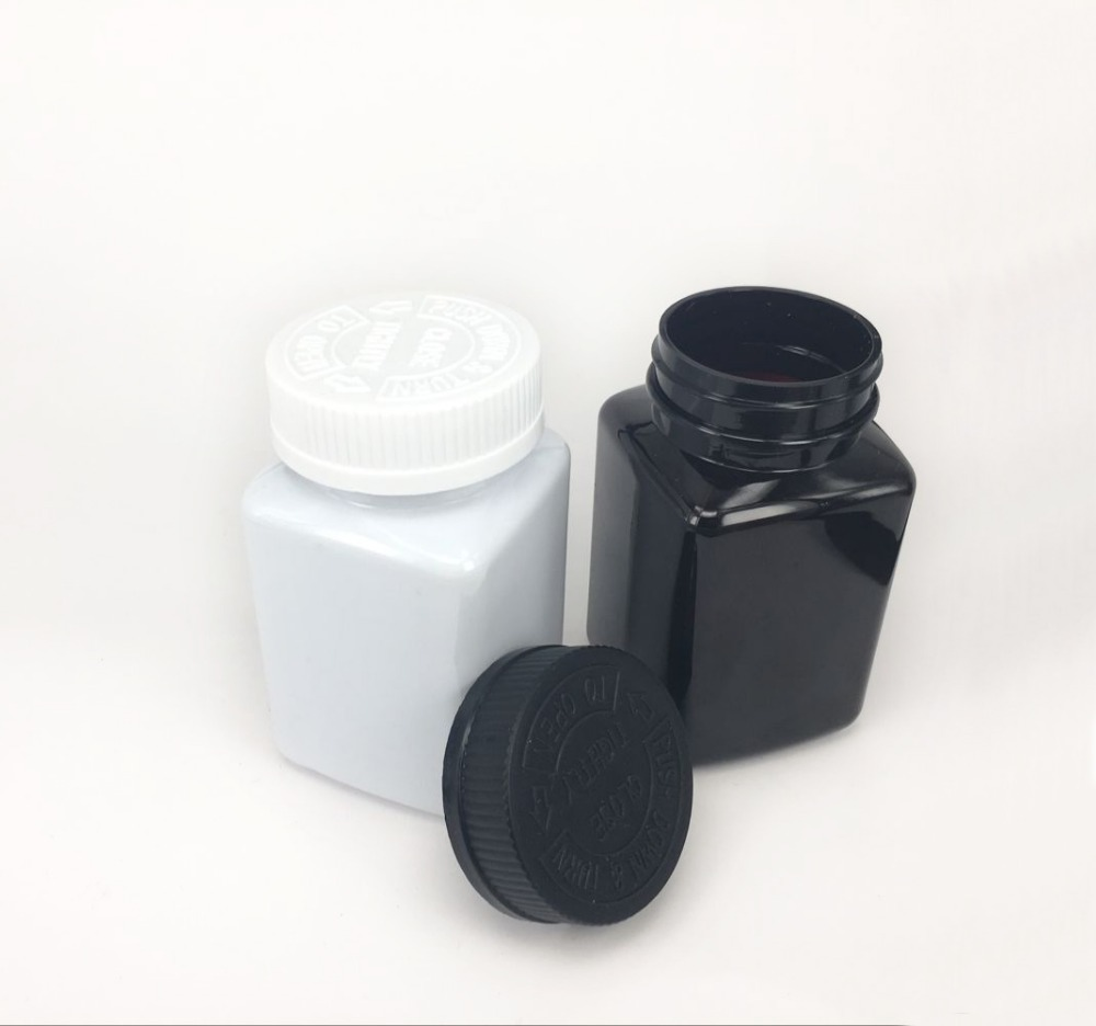 200cc white black square PET plastic tablet pill bottle