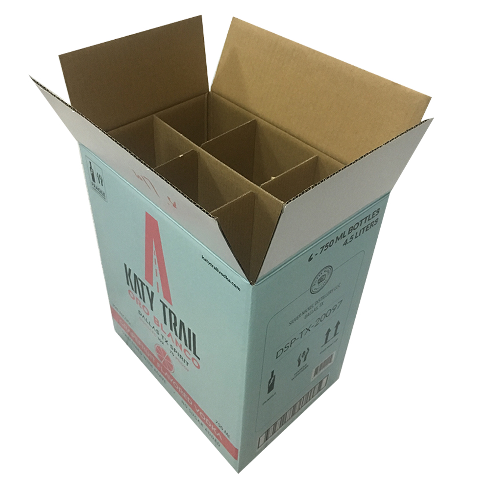 Recycle paper corrugated 6 bottle wine <strong>box</strong>