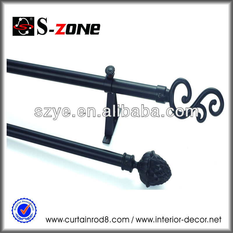 Black painting fancy home decoratiog iron poles and pipes, curved shower curtain rods