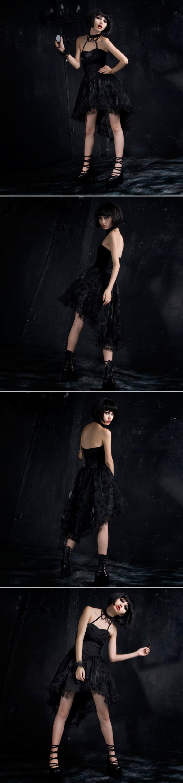 bb31236fe2c Q-134 Gothic Fashion Rose Flocking Dovetail Corset Cocktail Dress ...