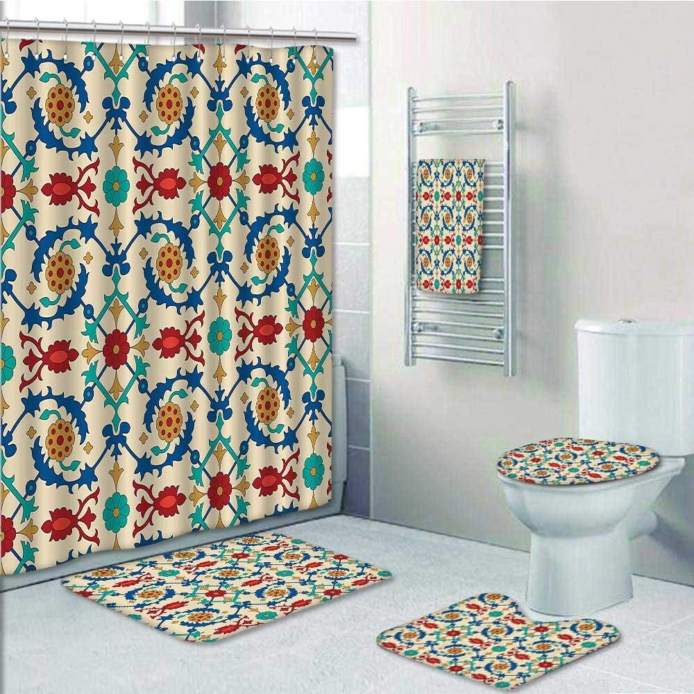 Charmant Get Quotations · PRUNUS 5 Piece Bathroom Rug Set/3 Piece Bath Rugs With  Fabric Shower Curtain And