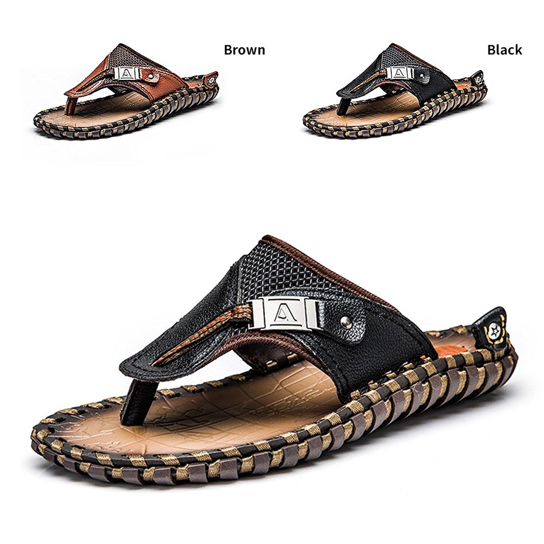 d87b33498 Get Quotations · ENLEN BENNA Men s Beach Flip-Flops Leather Thong Sandals  for Men Bottle Opener Flip Flops Summer