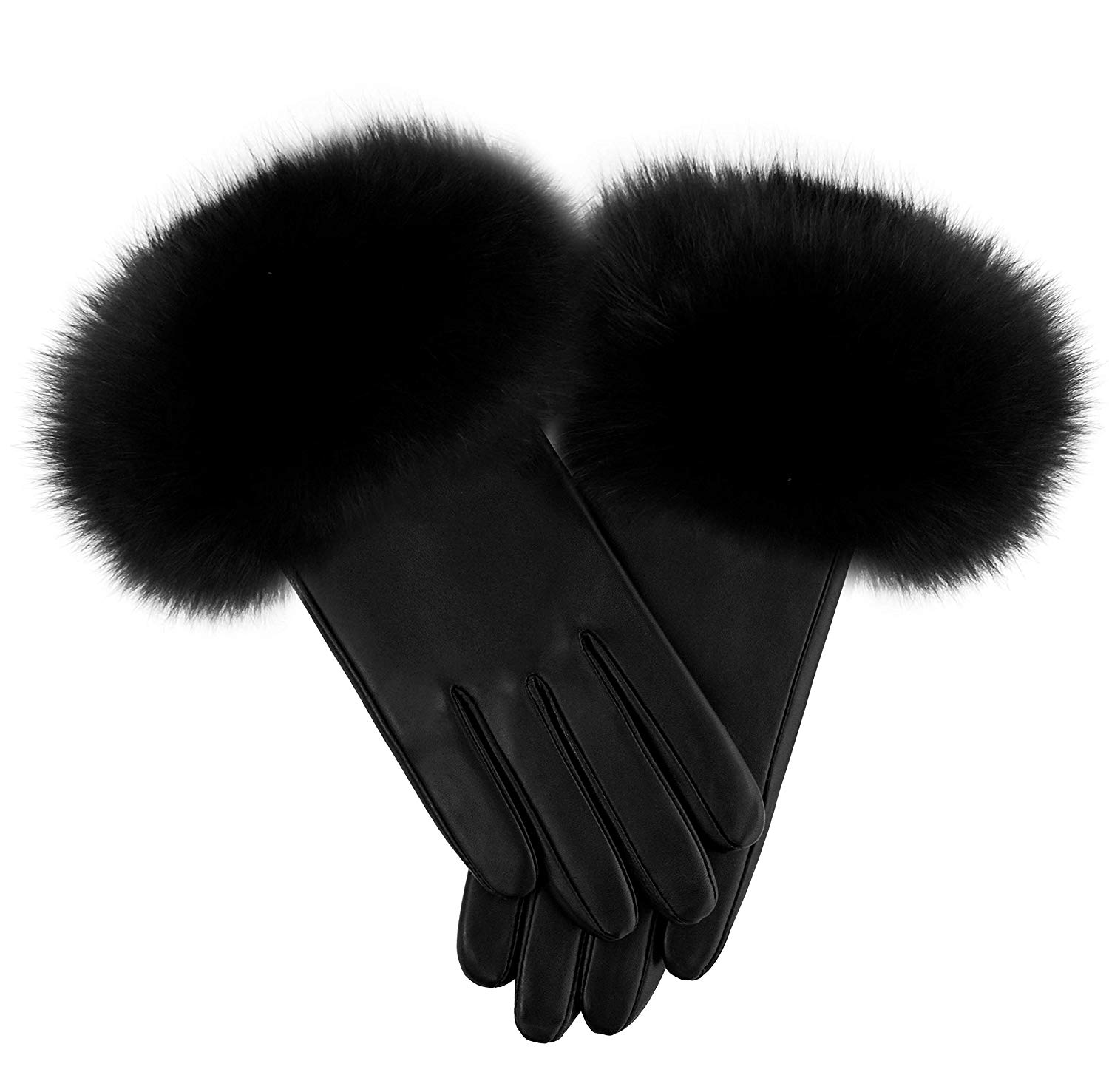 223ab077dd7 Get Quotations · Fur Traders Womens Italian Lamb with Fox Trim Gloves By  Mithcie s Matchings