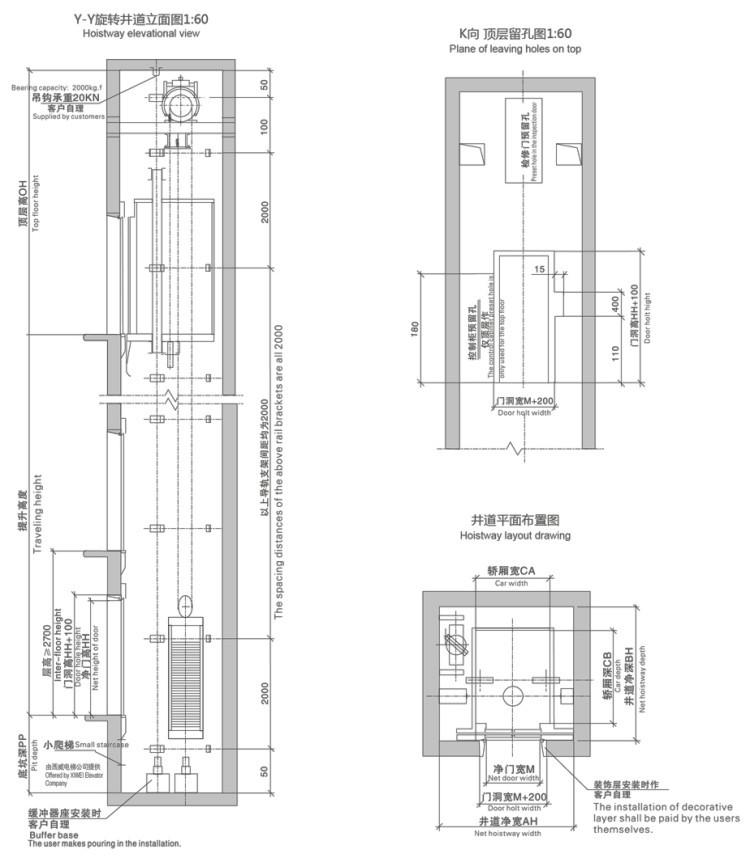 320kg-450kg 4-6 Kişilik Küçük Ev Konut Asansör Asansör Seti