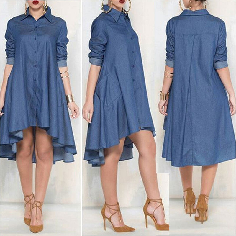 Cheap dress jeans, Buy Quality denim dress directly from China shirt dress Suppliers: Women Casual Denim Dresses Pockets Elegant Cowboy Fashion Women Feminino Lady Slim Shirt Dress Jeans How to Style a Denim Dress For Spring - button down denim mini dress worn with minimalist sandals gold accessories Another awesome denim shirtdress look.