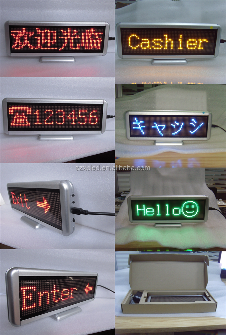 Standing Handheld Rechargeable Programable digital signage Seat brand desktop screen Brand name cards conference meeting LEDsign