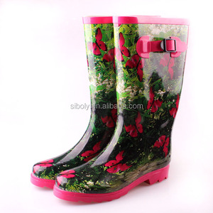 Factory price ladies natural rubber rain boots tall wellington for women