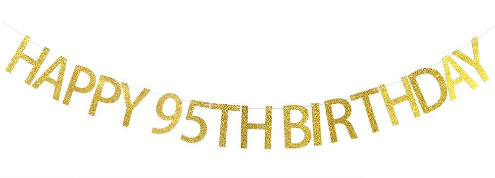 Get Quotations Happy 95th Birthday Banner Gold Glitter Party Bunting