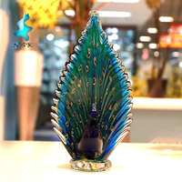 murano glass peacock figurine with hand blown glass for home ornamet