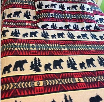 Twin Black Bear Adventure Polar Fleece Bedding Blanket