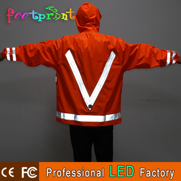 LED USB reflective lattice waterproof bicycle light up raincoat