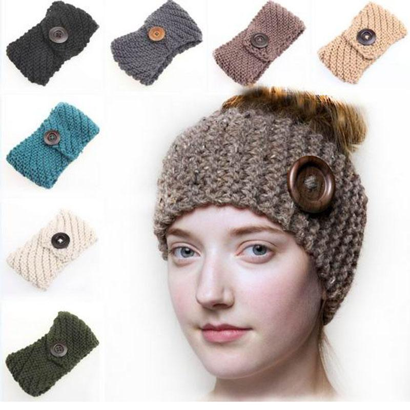Knitted ear tile wholesale headband with wooden button knitted wide wool blend <strong>scarf</strong>