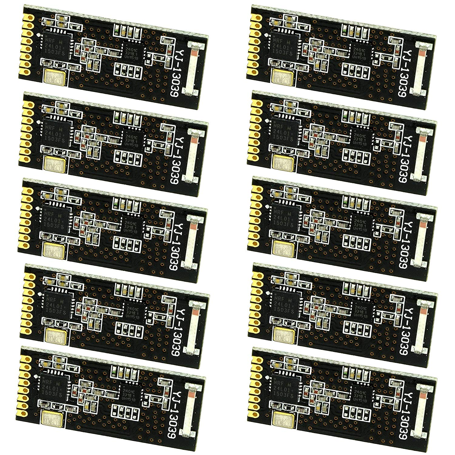 10pcs Miniature Long Range nRF24L01 Transceiver PA + LNA (with a single line of pins) by Optimus Electric