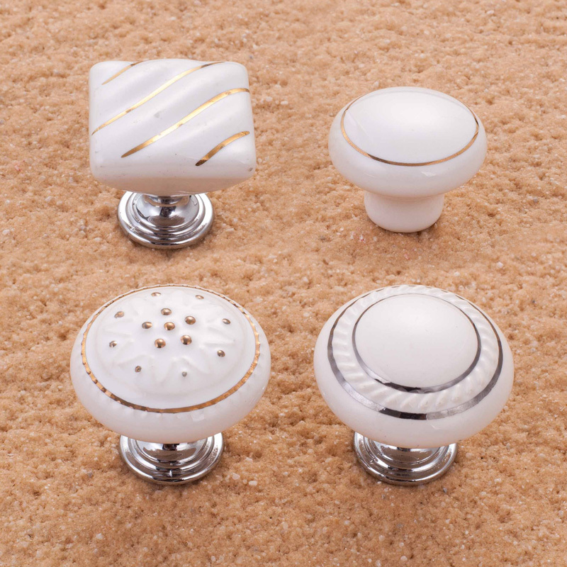 hot sale 10pcs white ceramic knobs kitchen cabinet door handle bedroom dresser pulls closet knobs. Black Bedroom Furniture Sets. Home Design Ideas