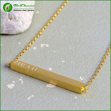Stainless steel custom logo engraved gold bar necklace D3-0209