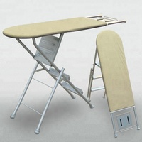 Folding mesh ironing board with 3 steps ladder