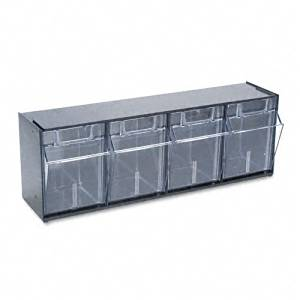 deflect-o : Tilt Bin Plastic Storage System with Four Bins, 23 5/8 x 6 5/8 x 8 1/8, Black -:- Sold as 2 Packs of - 1 - / - Total of 2 Each