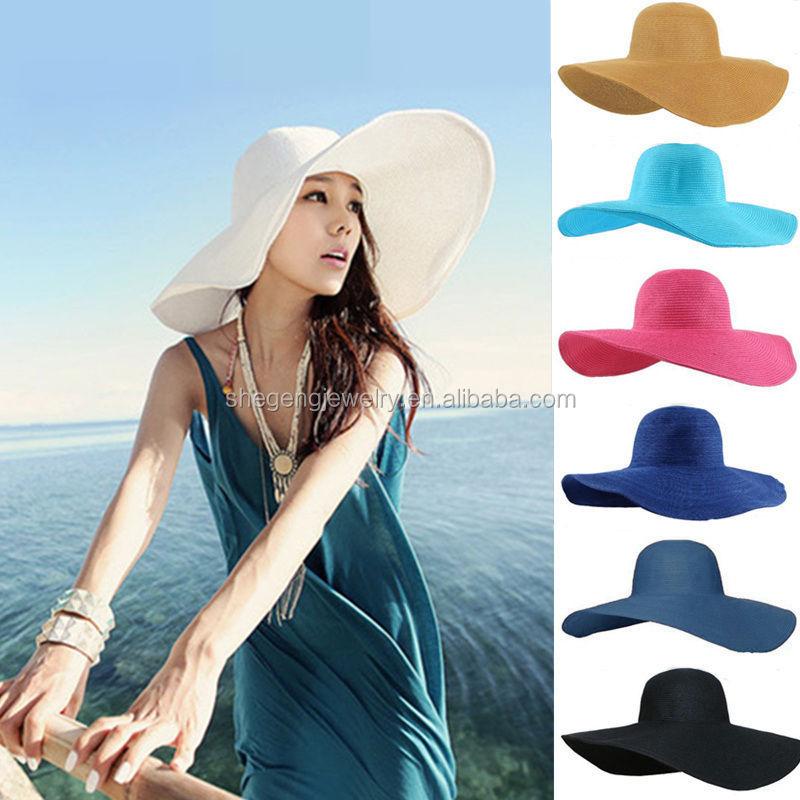 757ff33f57d Fashion Women Girl Floppy Derby Hat Wide Large Brim Summer Beach Straw Sun  Hat