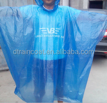 Wholesale PE transparent emergency disposable rain poncho, waterproof Pe adult's rain poncho