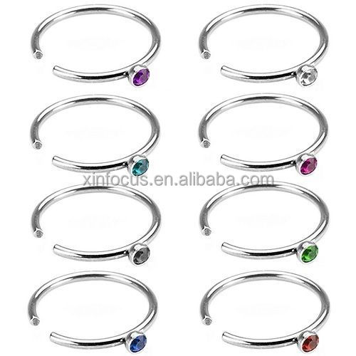 Fake Illusion Nose Ring Hoops With Gem No Piercing Needed Fake