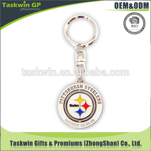 High quality customized design logo rotating spinning keychain