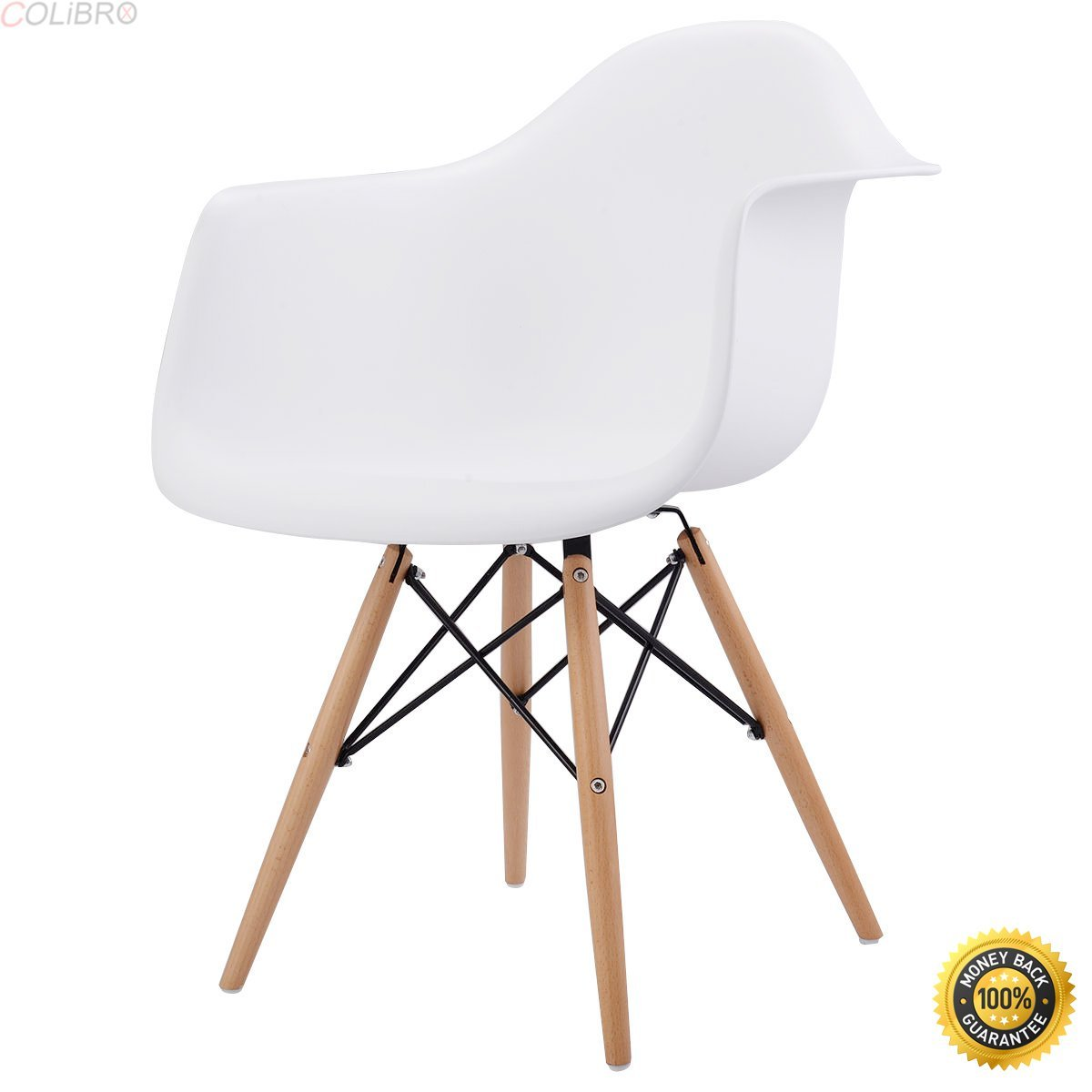 COLIBROX--Set of 2 Mid Century Modern Molded Dining Arm Side Chair Wood Legs White New,armchair cheap,Soft Modern Arm Chair,cheap living room chairs,living room chair,chairs for sale cheap