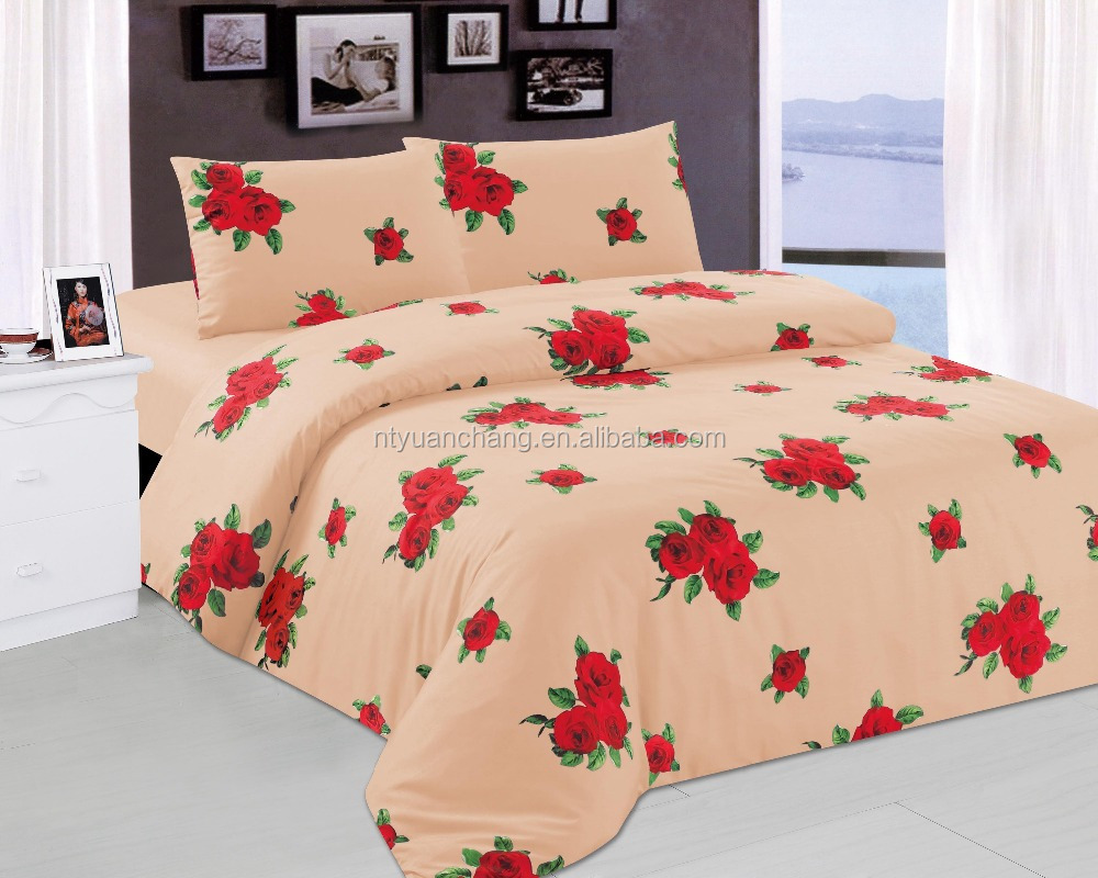 polyester red rose wedding bedsheet adult bedding set sexy
