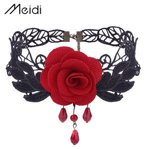 New Designs Collar Metal Black Lace Red Rose Flower Rhinestone Fashion Halloween Choker Necklace for Women Party