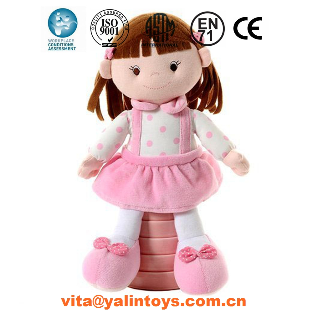 Plush toys custom logo customized plush rag doll