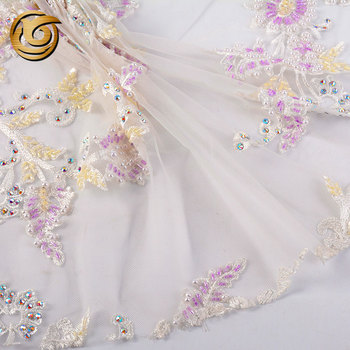 Fancy design elegant 100 polyester 3d crystal embellished white lace embroidery fabric
