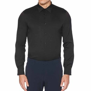 OEM factory custom tailored slim fit solid stretch long sleeve black woven mens dress shirt