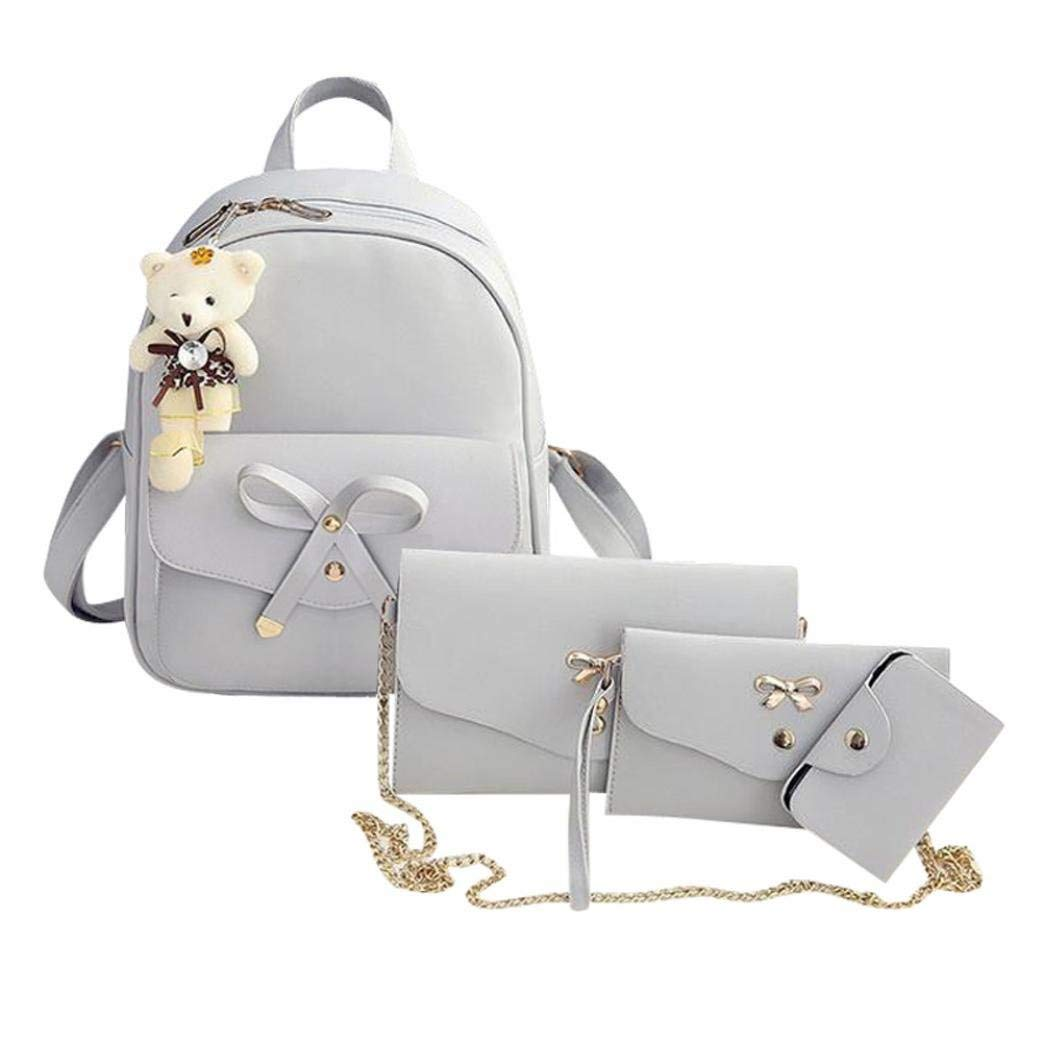 1985c629a2ad Women Teen Girls PU Leather 4pcs Set Backpack Purse Shoulder Bag Handbag  Crossbody Bag