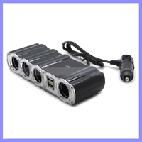 4 Way Port Car Charger DC 12V USB LED Car Cigarette Lighter Adapter With Long Cable