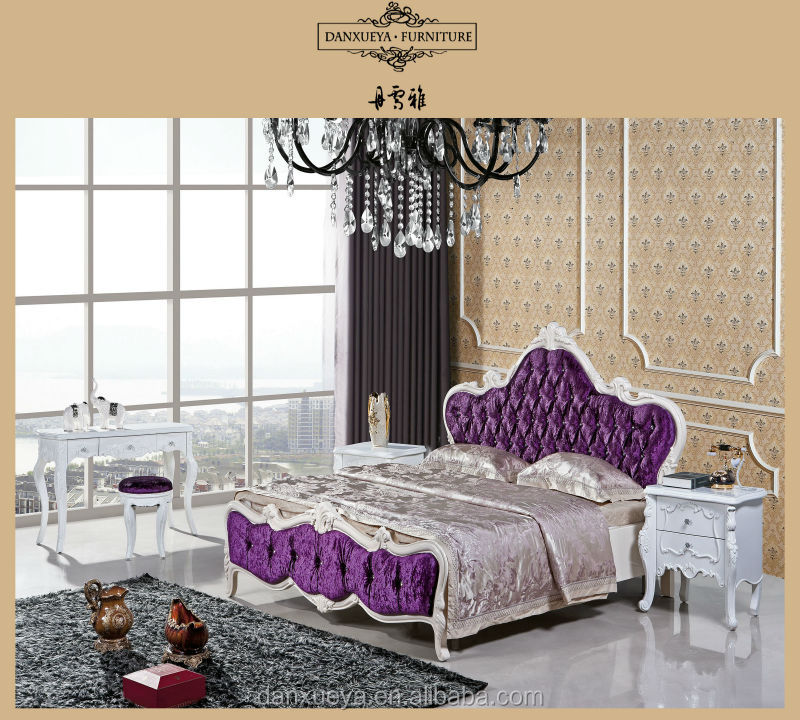 China King Size Solid Wood Furniture,Luxury Velvet Royal Bed Room ...
