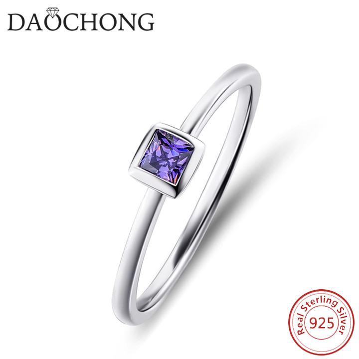 Most Popular Tiny 925 Sterling Cheap Silver Ring With Purple Zircon