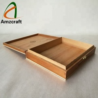 Raised Lid Plywood Wood Cigar Packaging Boxes with Burnt Logo